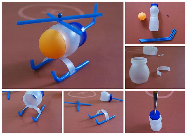 Helić od plastične boce i slamki