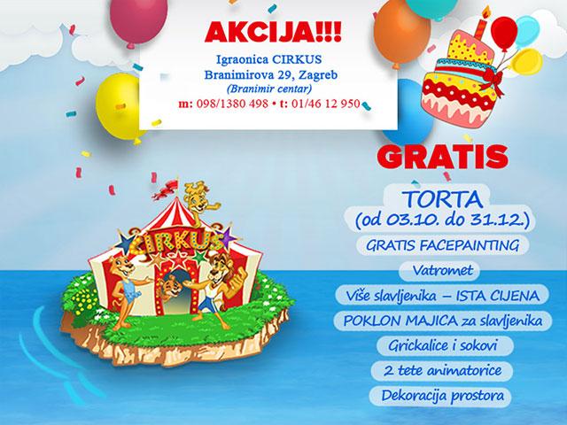 Najveseliji rođendani uz gratis tortu - Igraonica Cirkus