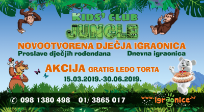 DJEČJA IGRAONICA JUNGLE PLAY 2 - AKCIJA OD 15.03.2019.-30.06.2019.